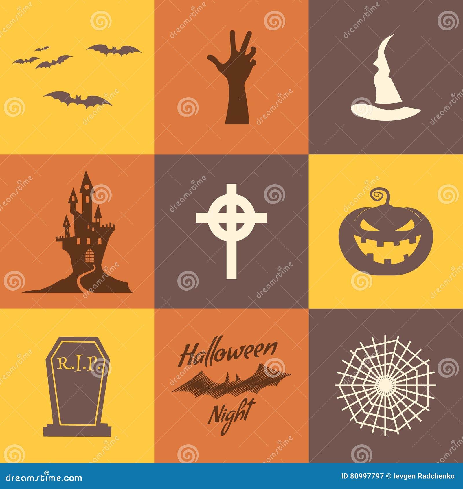Ensemble d isolat d icônes de Halloween sur les milieux multicolores Conception plate Symboles de fête de vacances - potiron, bat