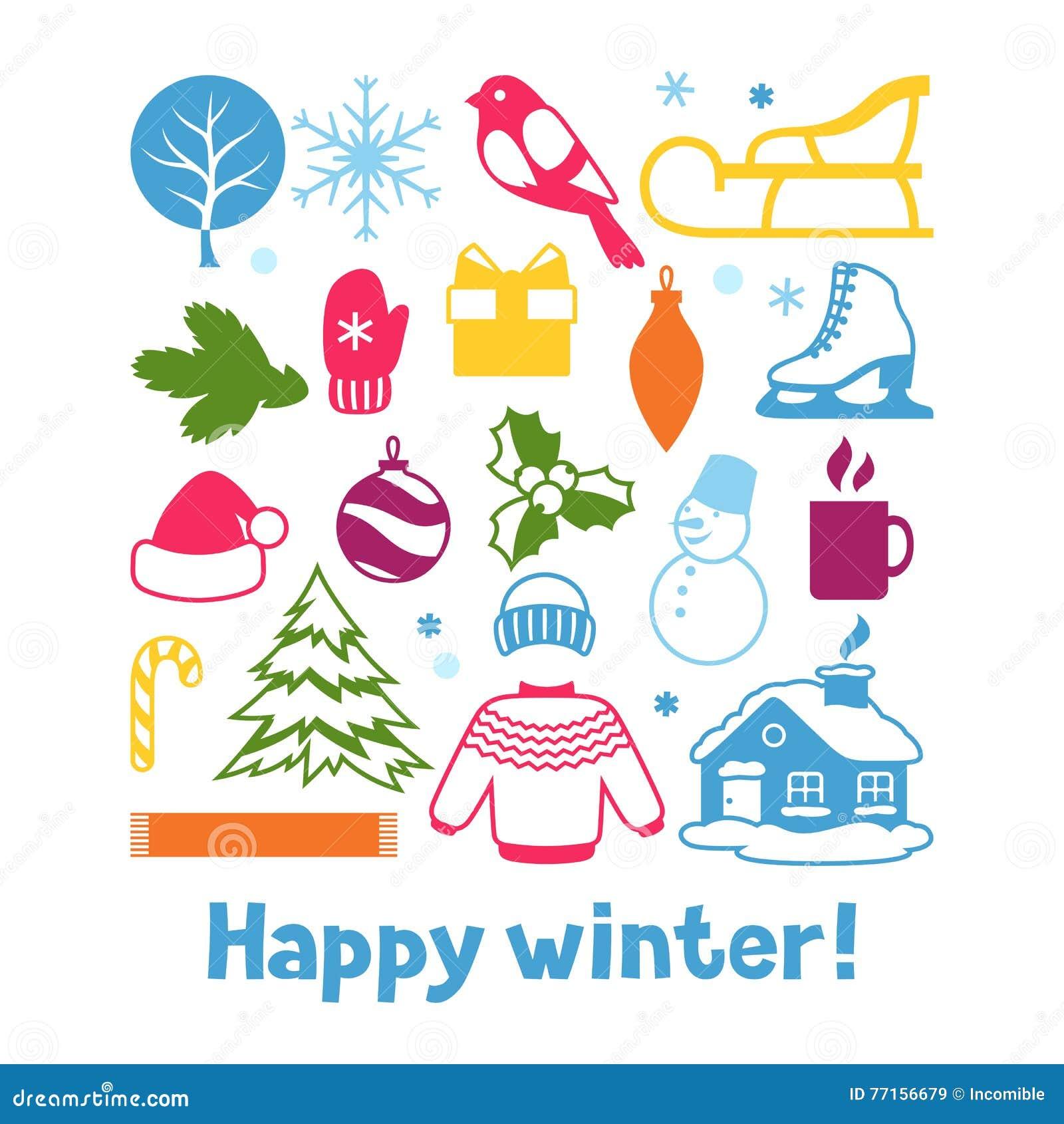 Ensemble d objets d hiver Articles de vacances de Joyeux Noël, de bonne année et symboles