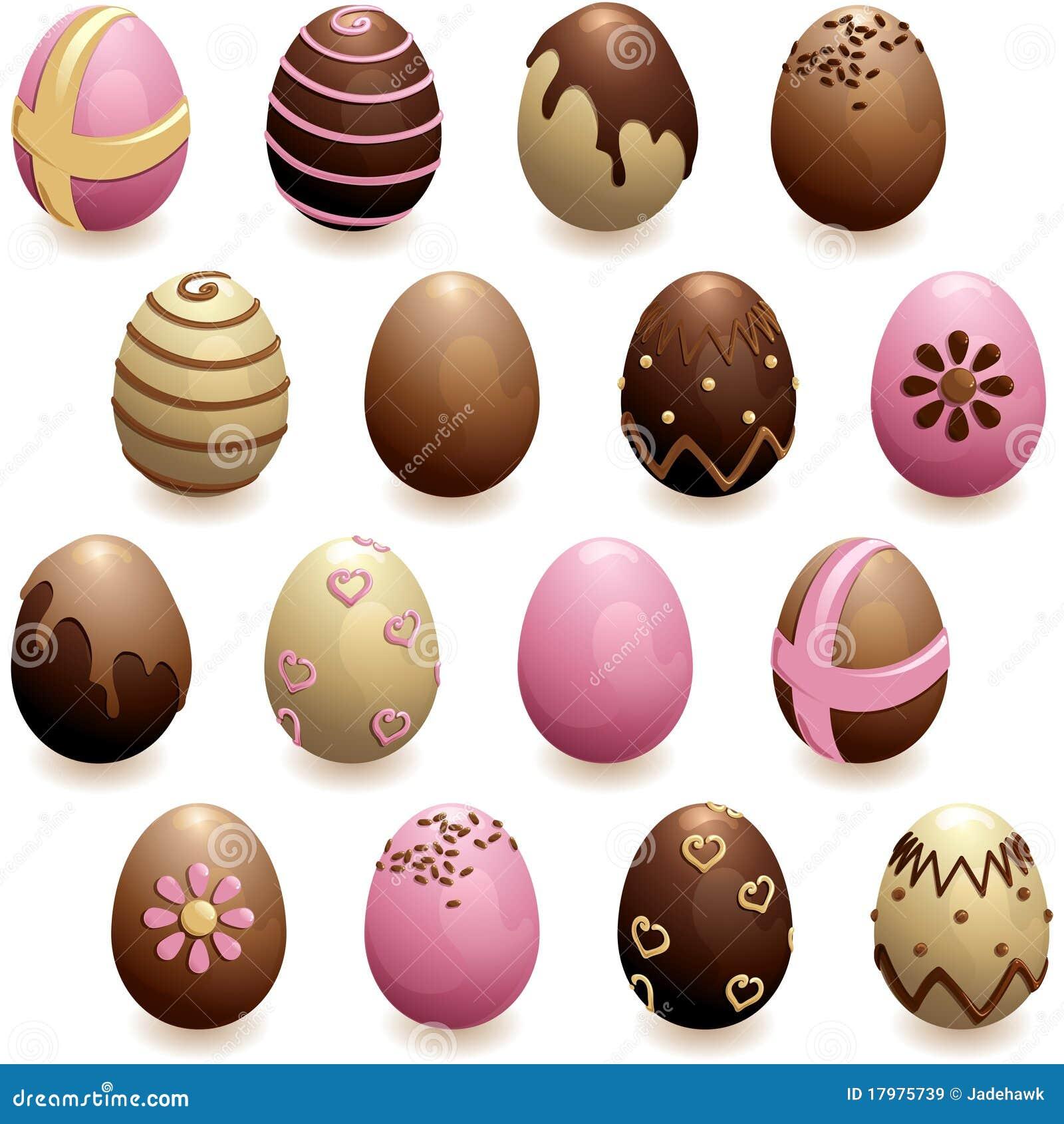 Ensemble D Oeufs De Chocolat Decores Illustration De Vecteur