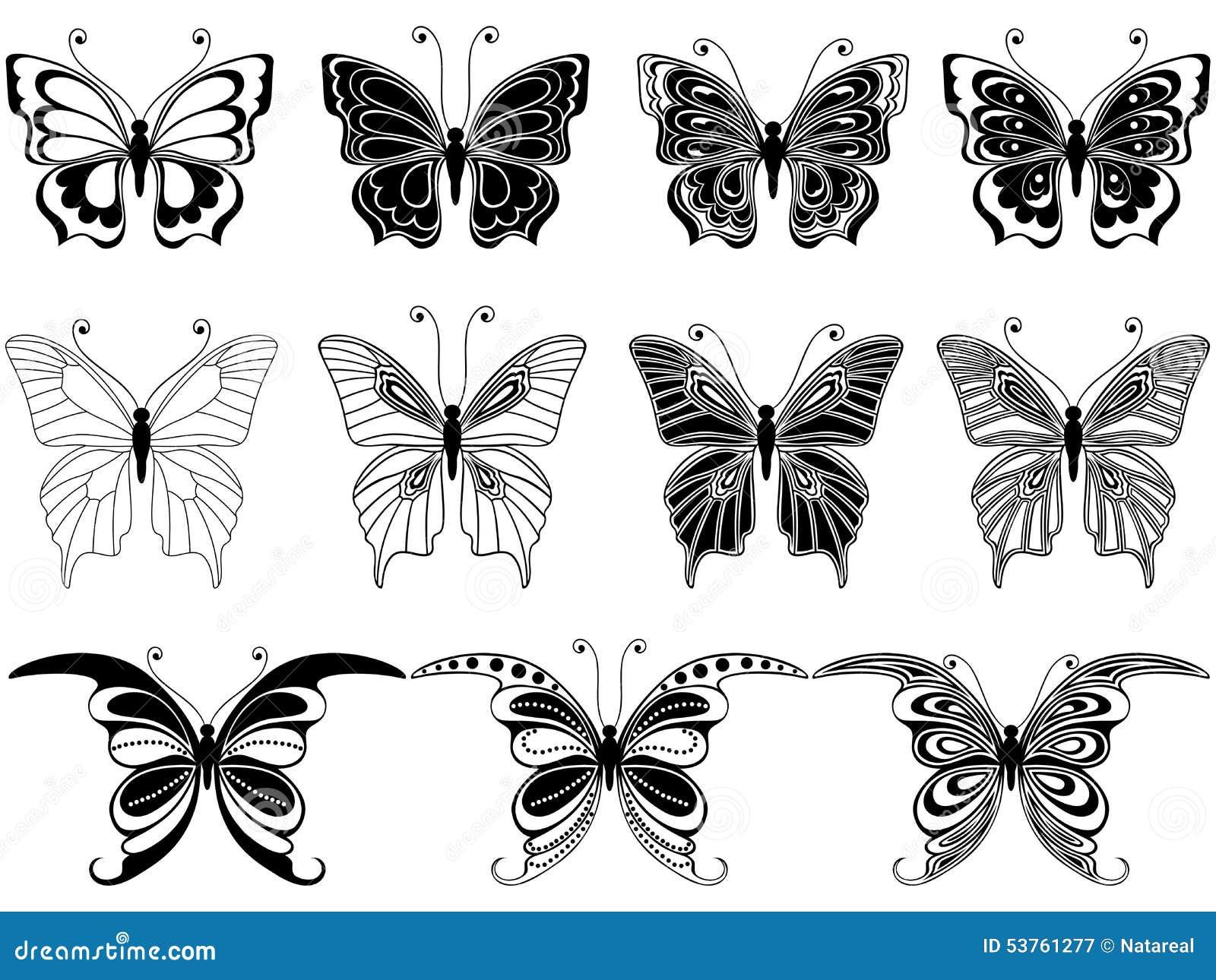 Ensemble d onze papillons ornementaux