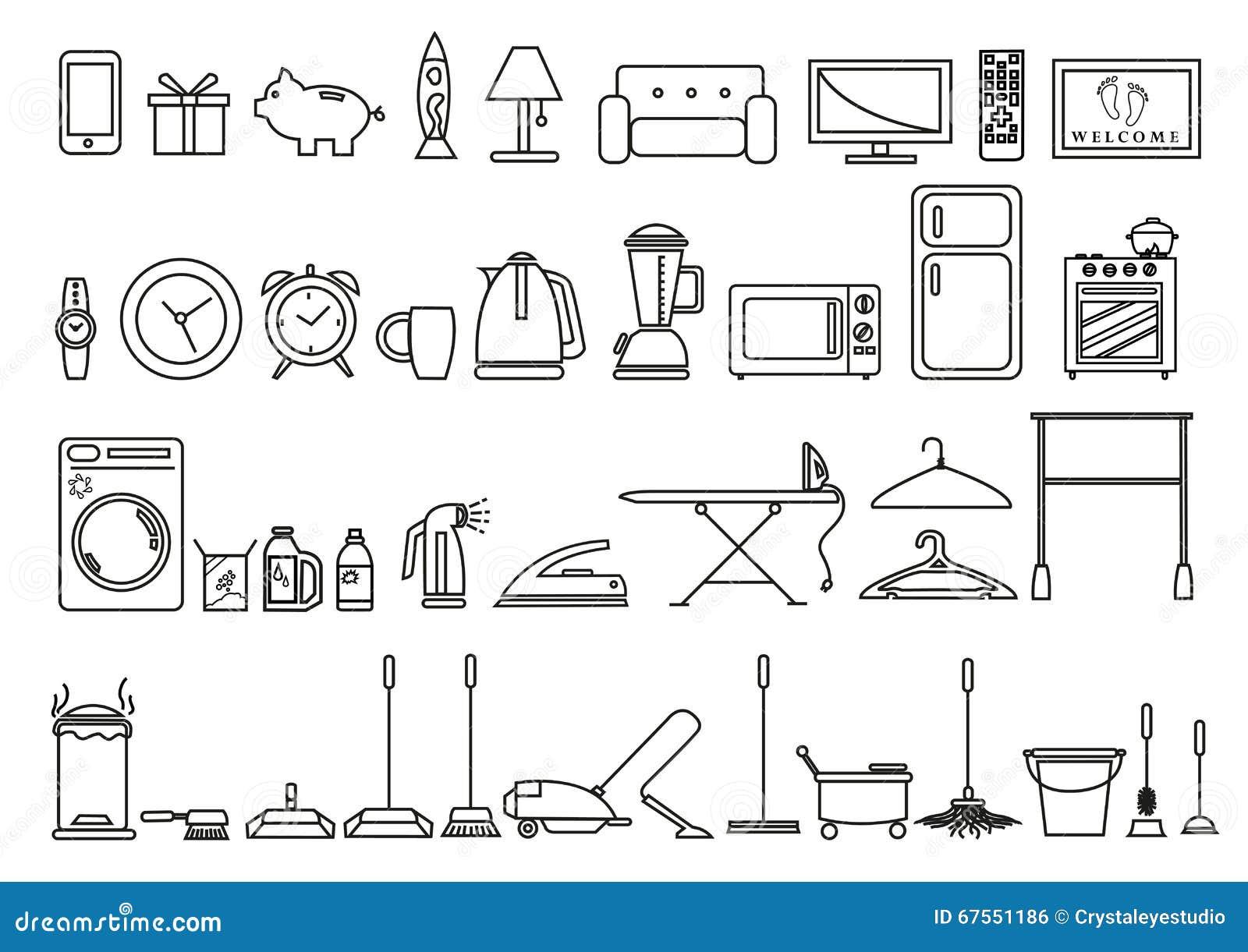 ensemble d 39 outils de maison et de mode de vie et objets dans le contour art style clipart. Black Bedroom Furniture Sets. Home Design Ideas