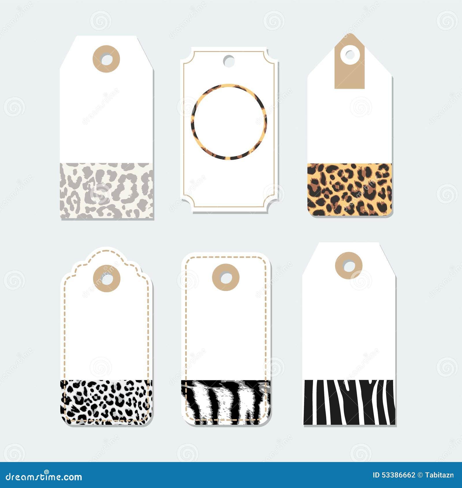 ensemble d 39 tiquettes labels avec les mod les la mode de peau d 39 animaux illustration stock. Black Bedroom Furniture Sets. Home Design Ideas
