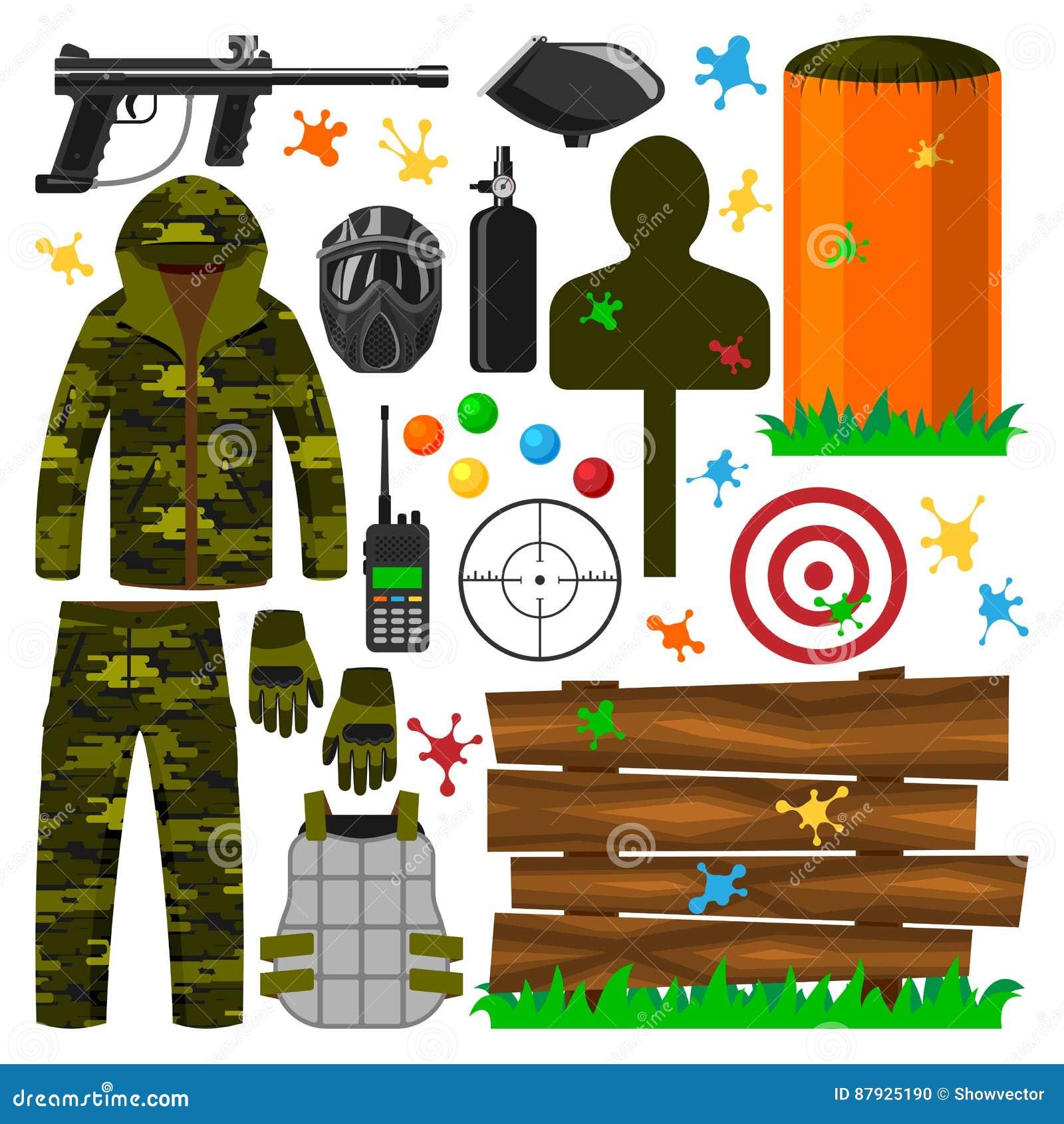 Ensemble d uniforme de protection d icônes de symboles de club de paintball, illustration de vecteur de cible d équipement de jeu