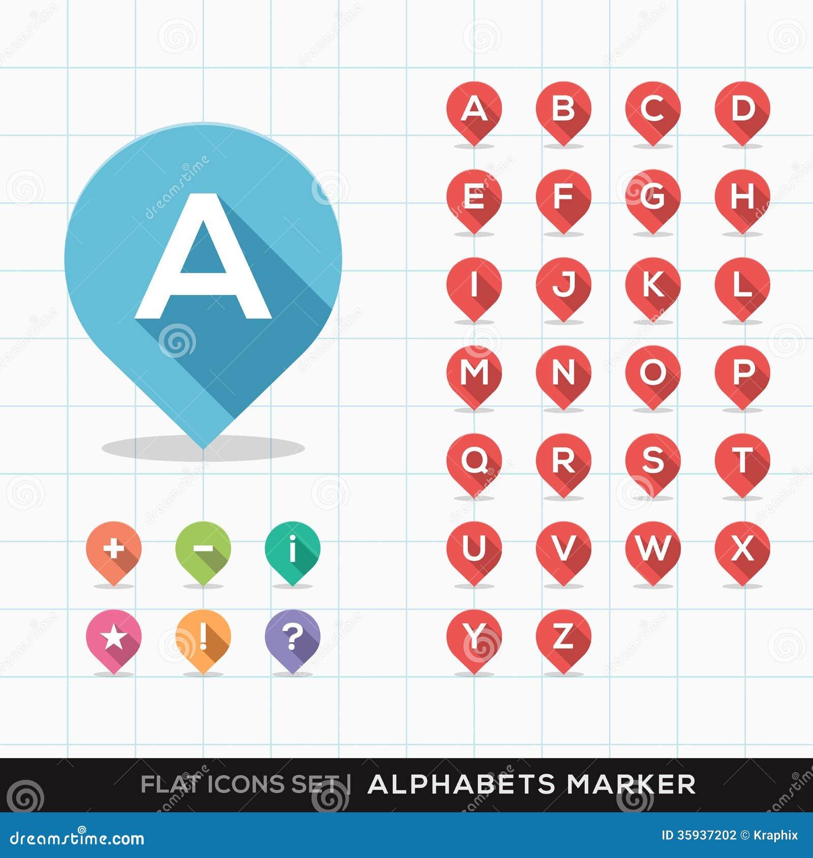 Ensemble d A-Z Alphabet Pin Marker Flat Icons avec le lon