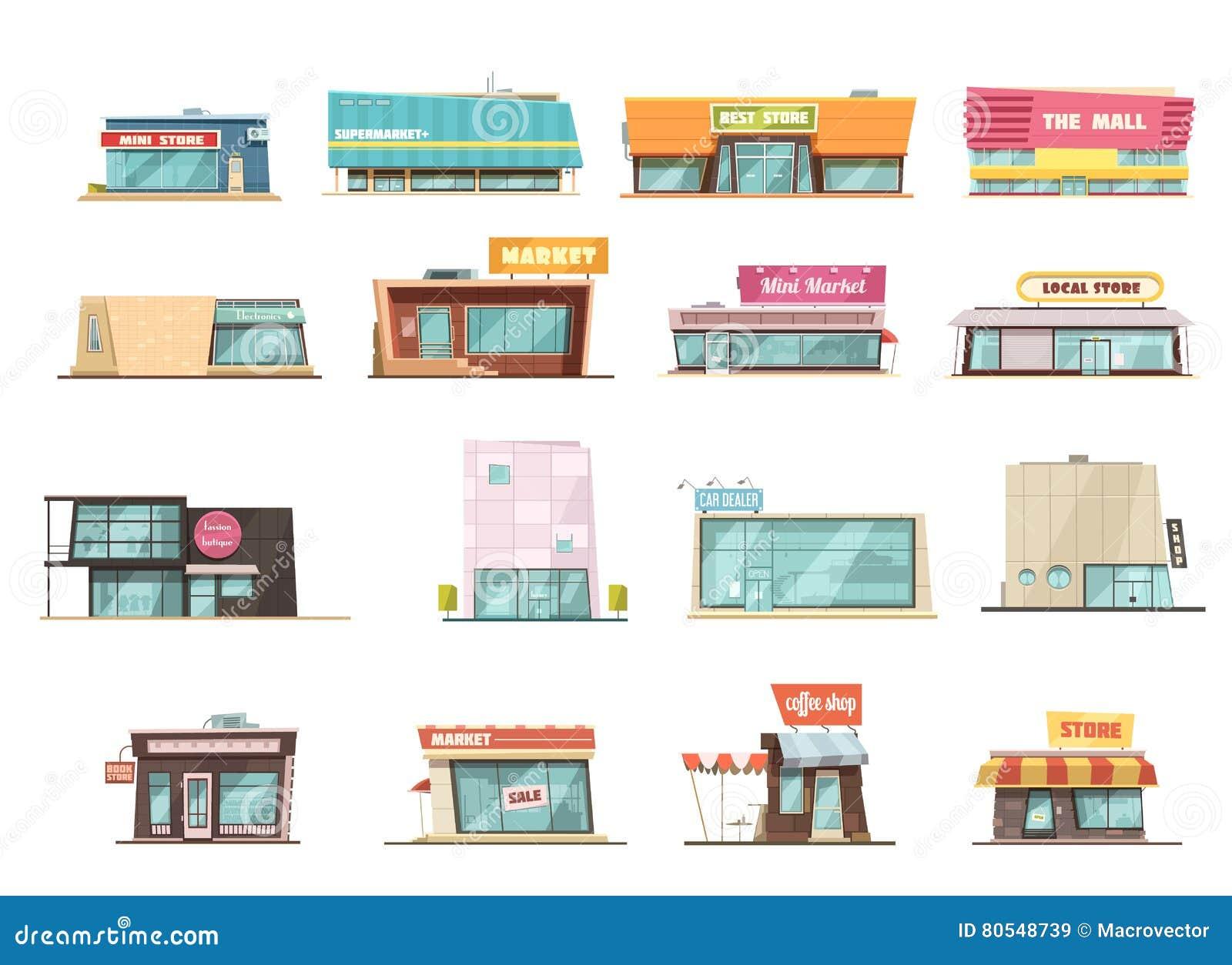 Ensemble de bâtiment de boutique