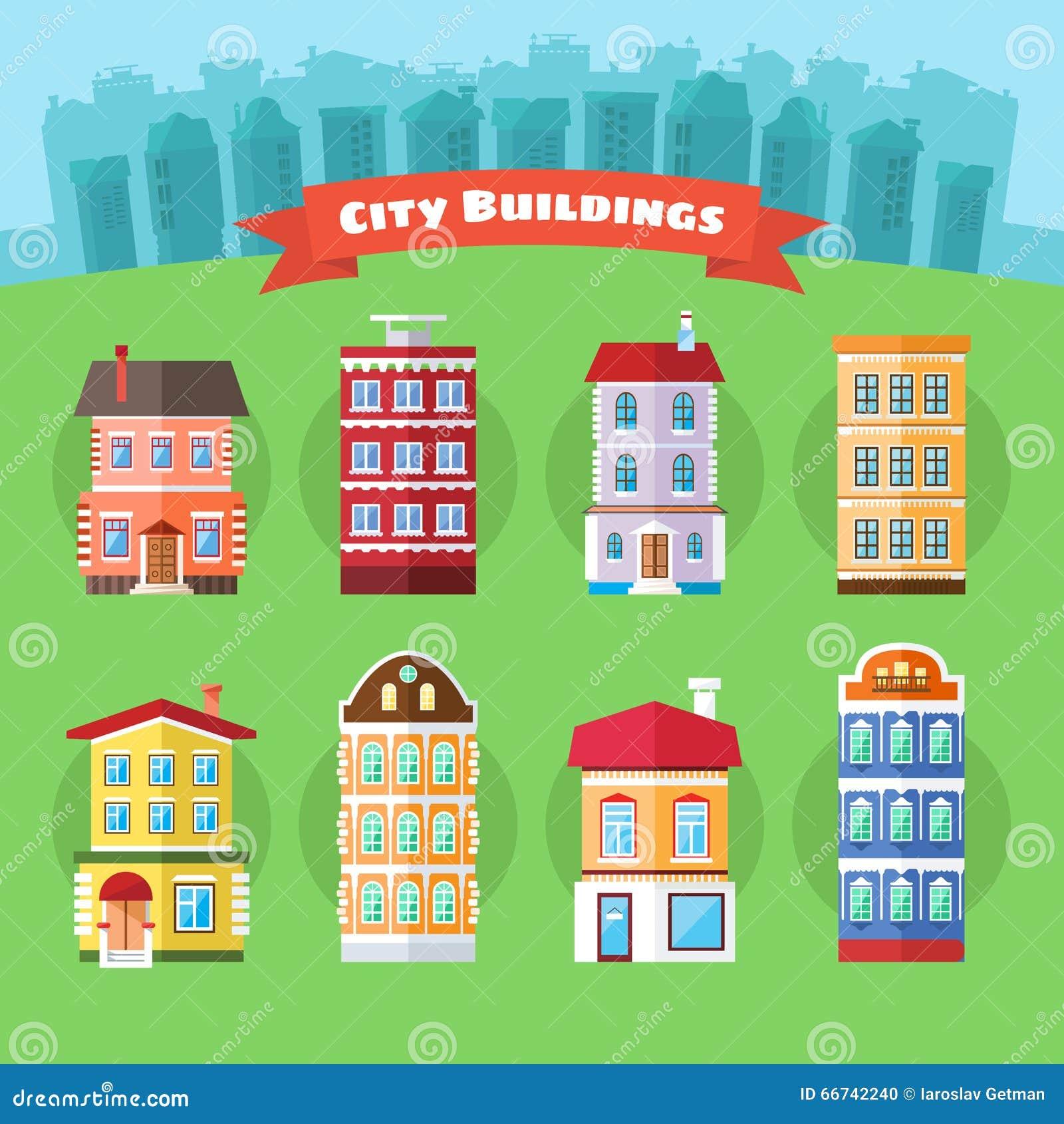 Ensemble de bâtiments de ville et de ville de vecteur