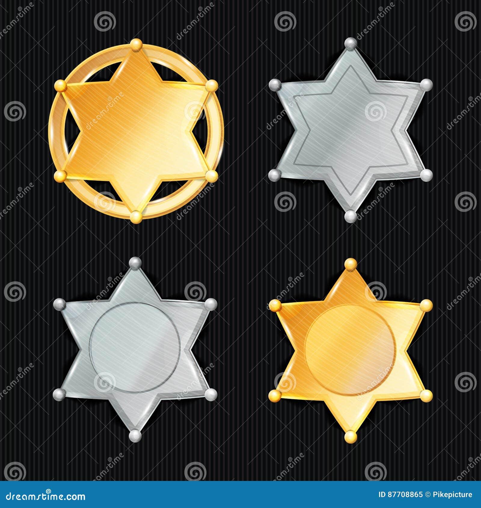 Ensemble de Badge Star Vector de shérif Différents types symbole classique Département municipal de police de ville D isolement s