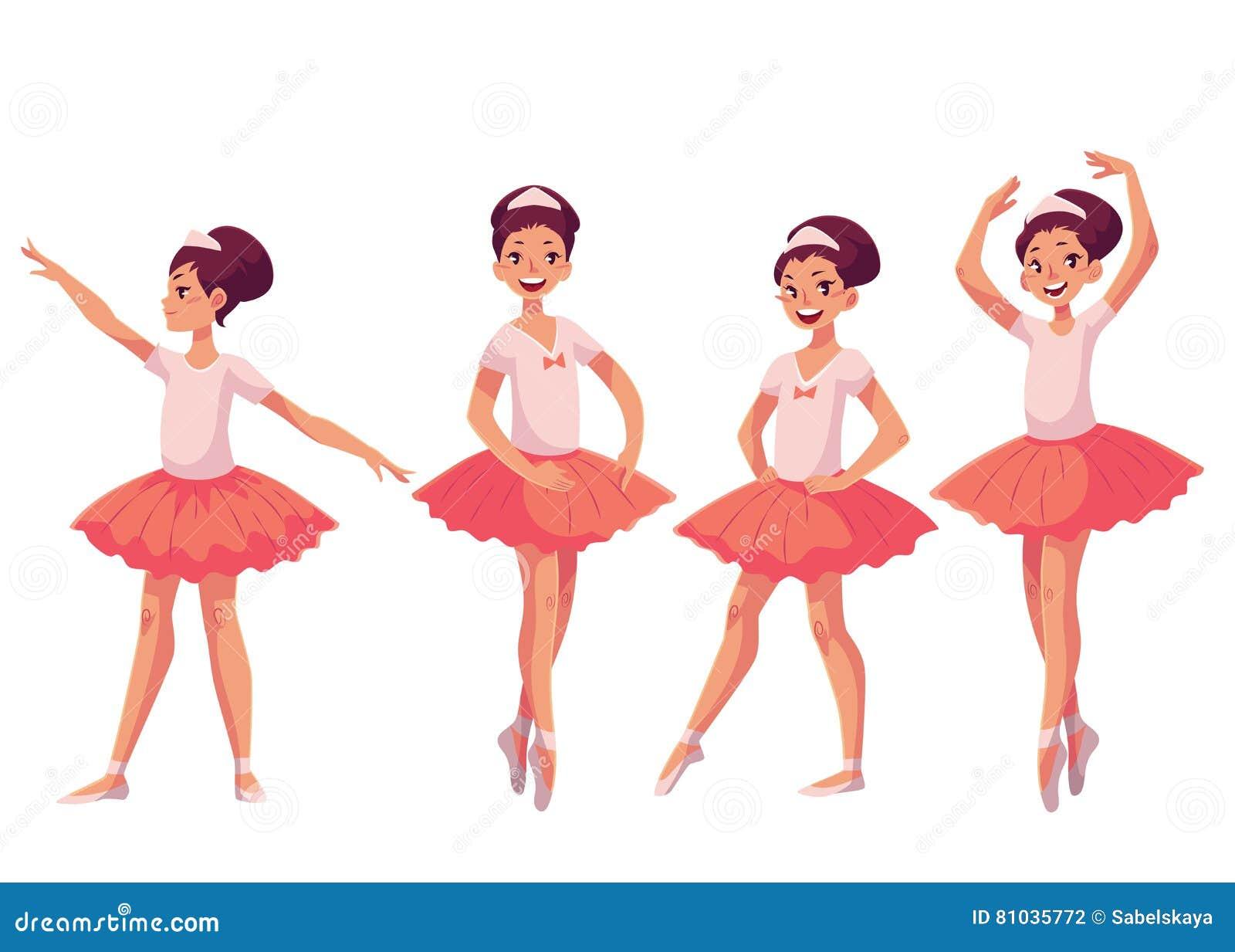 Ensemble de ballerines assez jeunes gracieuses dans le tutu rose