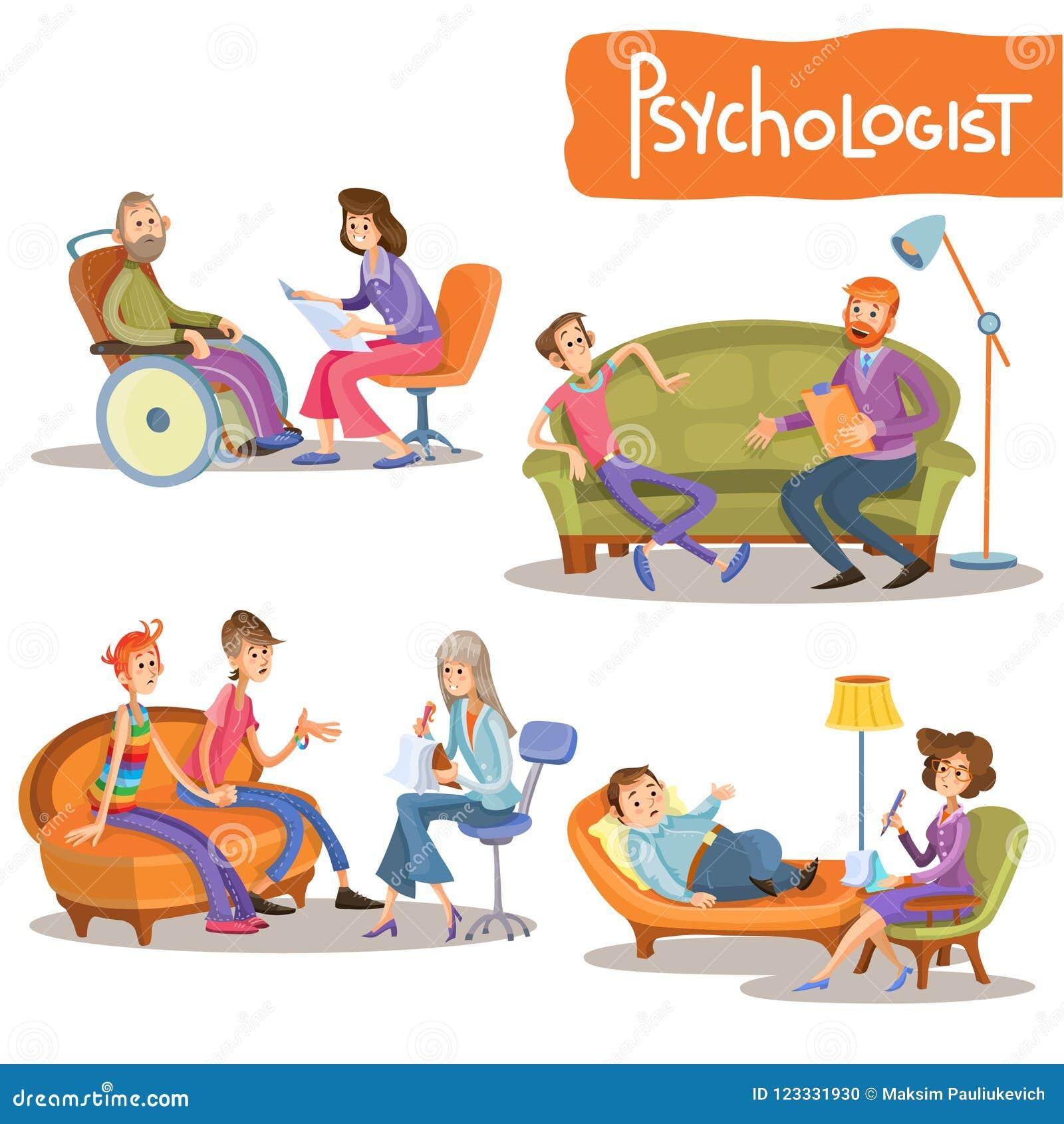 Ensemble de bande dessinée de cabinet privé de psychologue
