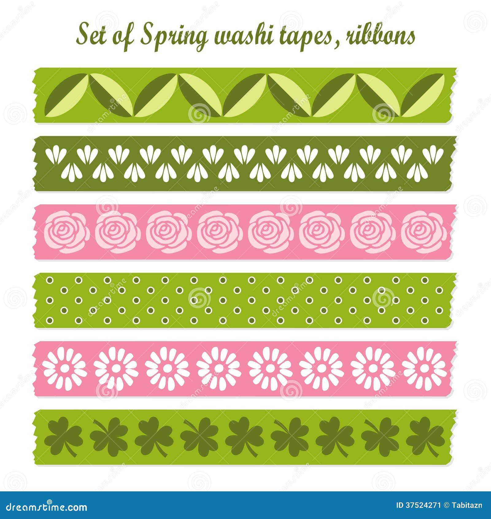 Ensemble de bandes de washi de vintage de Pâques de ressort, rubans, éléments, modèles mignons de conception