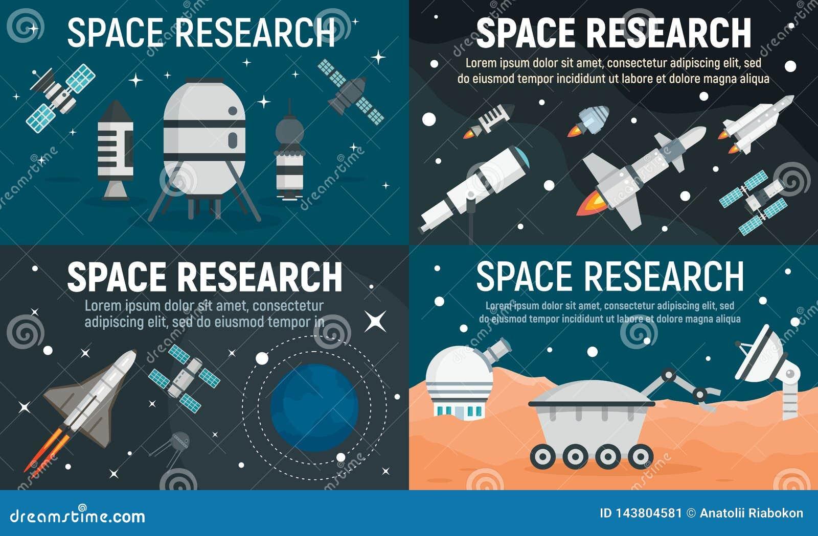 Ensemble de bannière de technologie de recherche spatiale, style plat