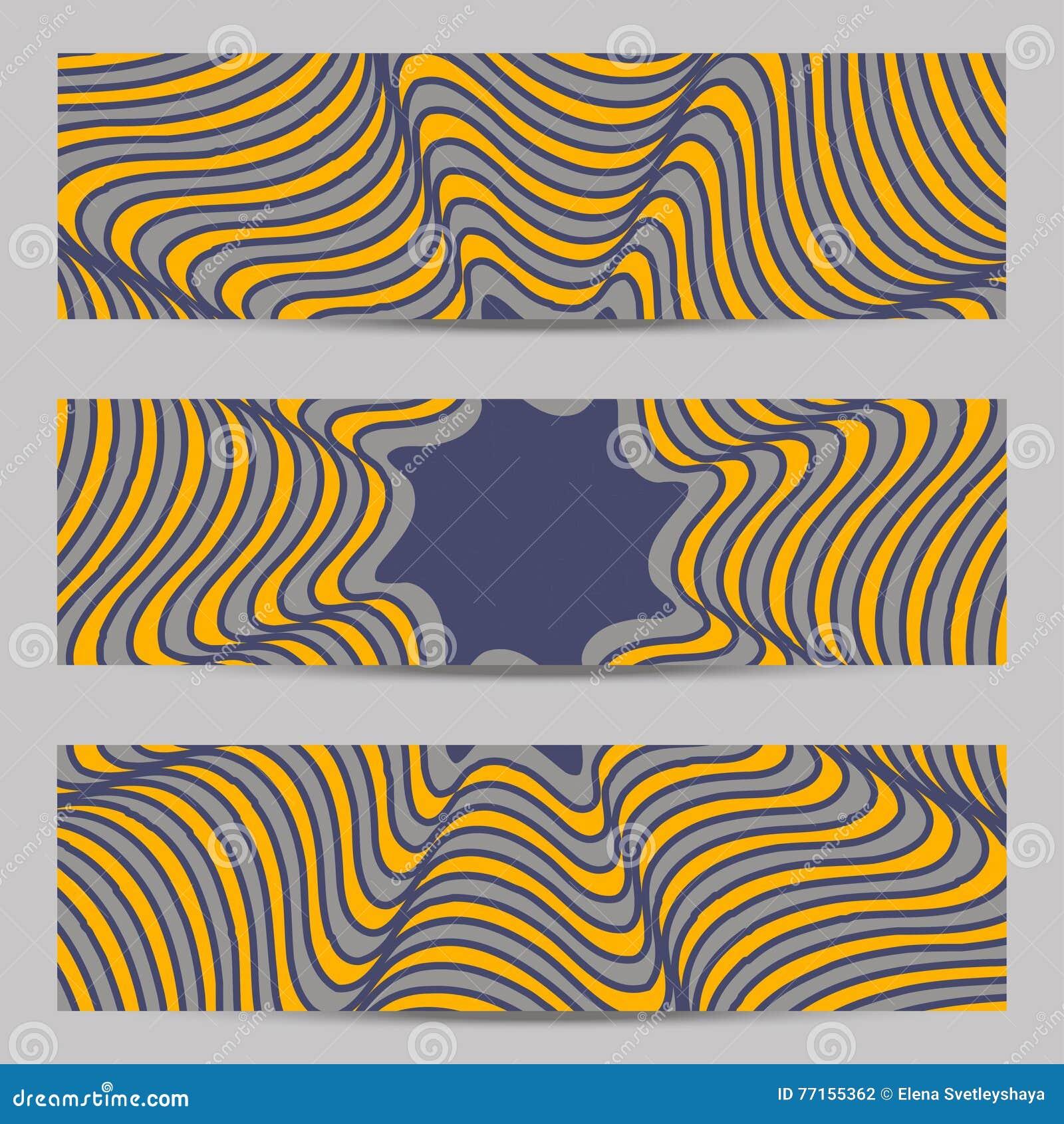 Ensemble de bannières de conception moderne, calibre d en-têtes avec 3d le volume abstrait barré, fond diagonal onduleux de modèl