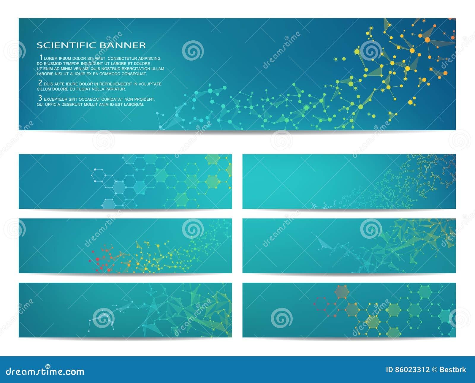 Ensemble de bannières scientifiques modernes ADN de structure de molécule et neurones abrégez le fond Médecine, la science, techn