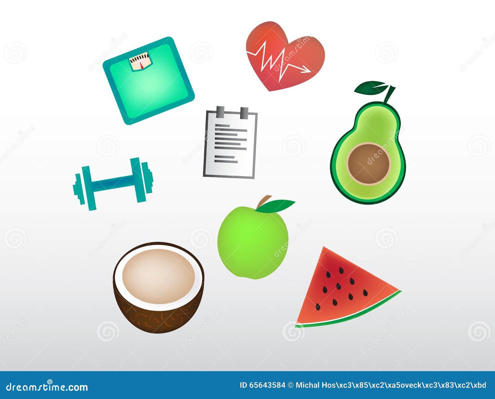 Ensemble de belles icônes de forme physique de fruit et de choses de forme physique