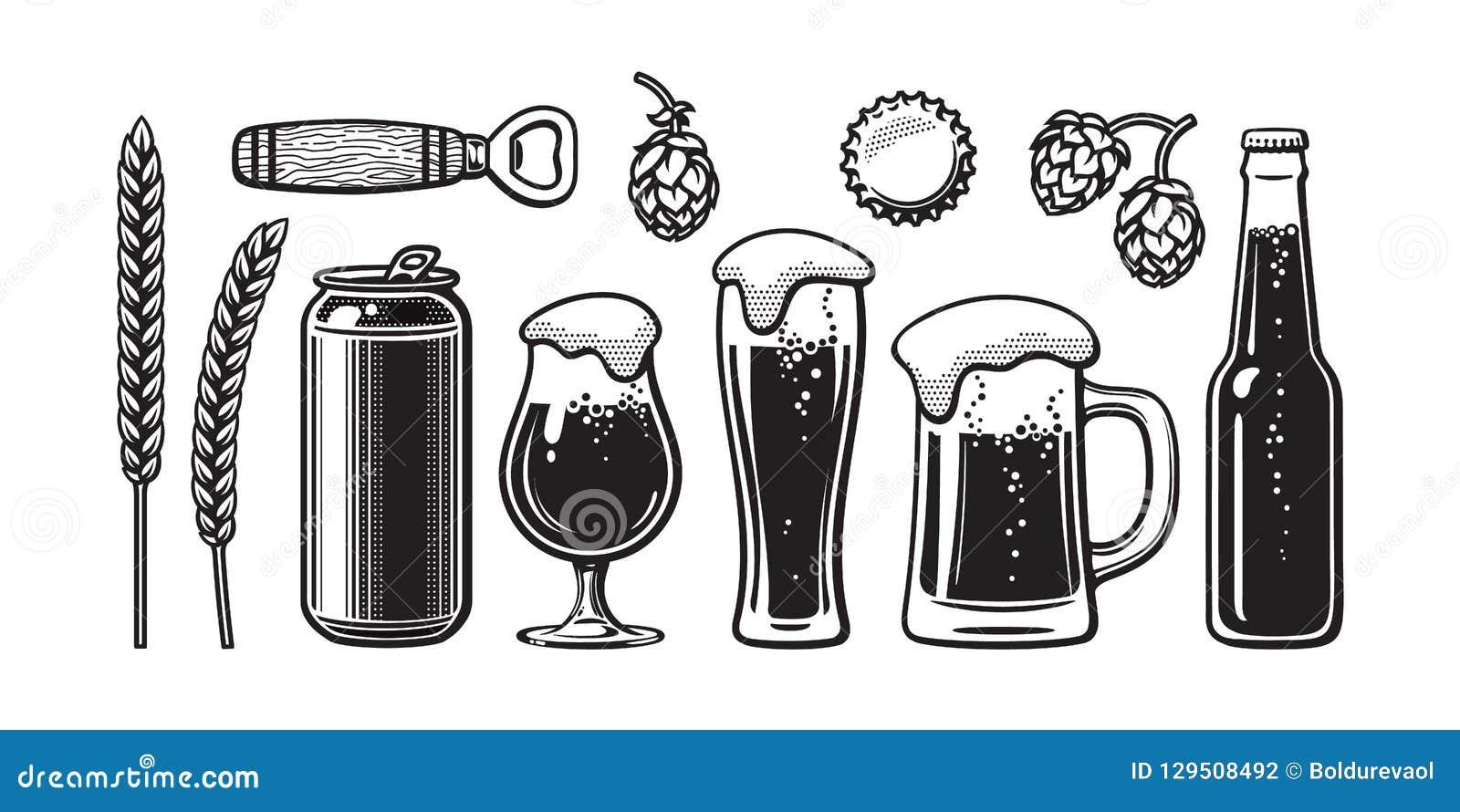 Ensemble de bière de vintage L orge, blé, peut, verre, tasse, bouteille, ouvreur, houblon, capsule Illustration de vecteur Brasse