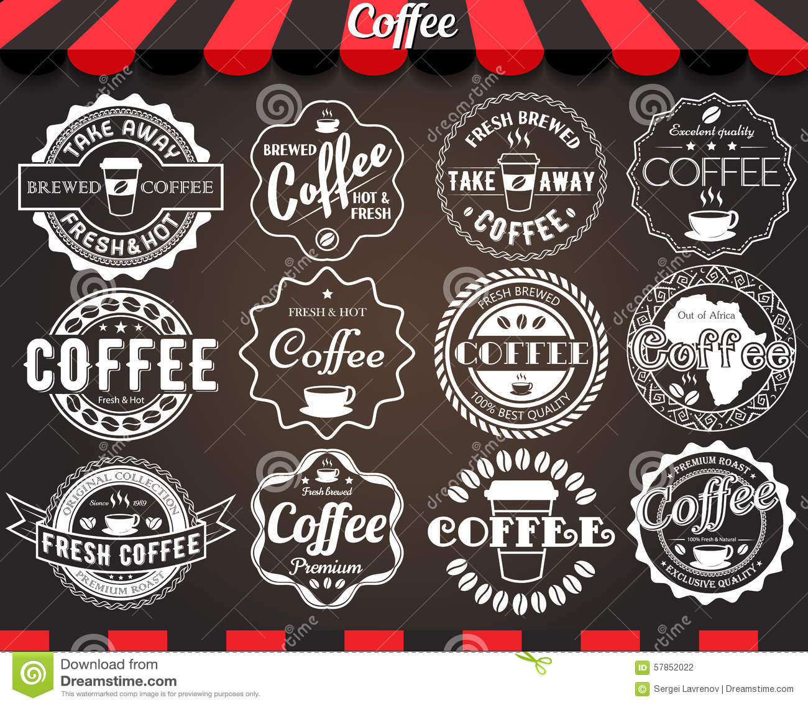 Ensemble de blanc de rétros labels et d insignes de café de vintage rond sur le tableau noir