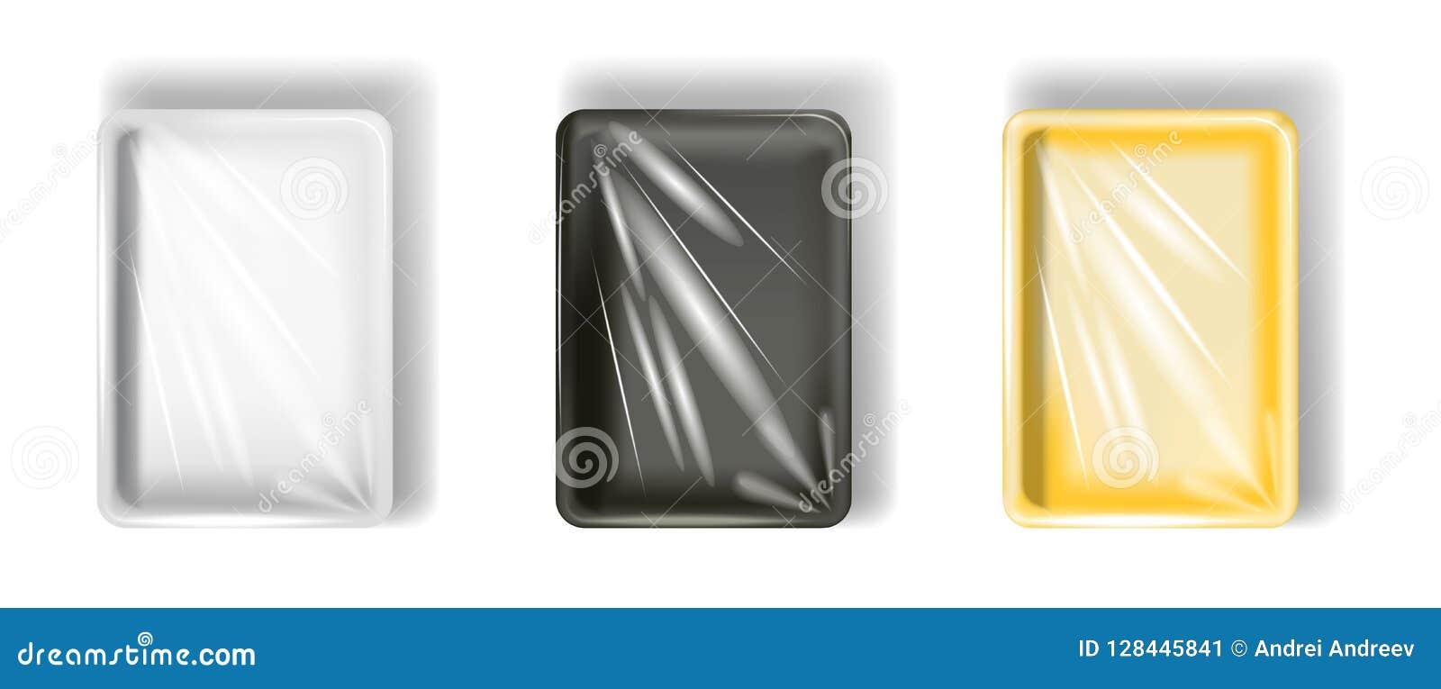 Ensemble de boîte en polystyrène blanche, jaune, noire, avec le film transparent D isolement sur le fond blanc