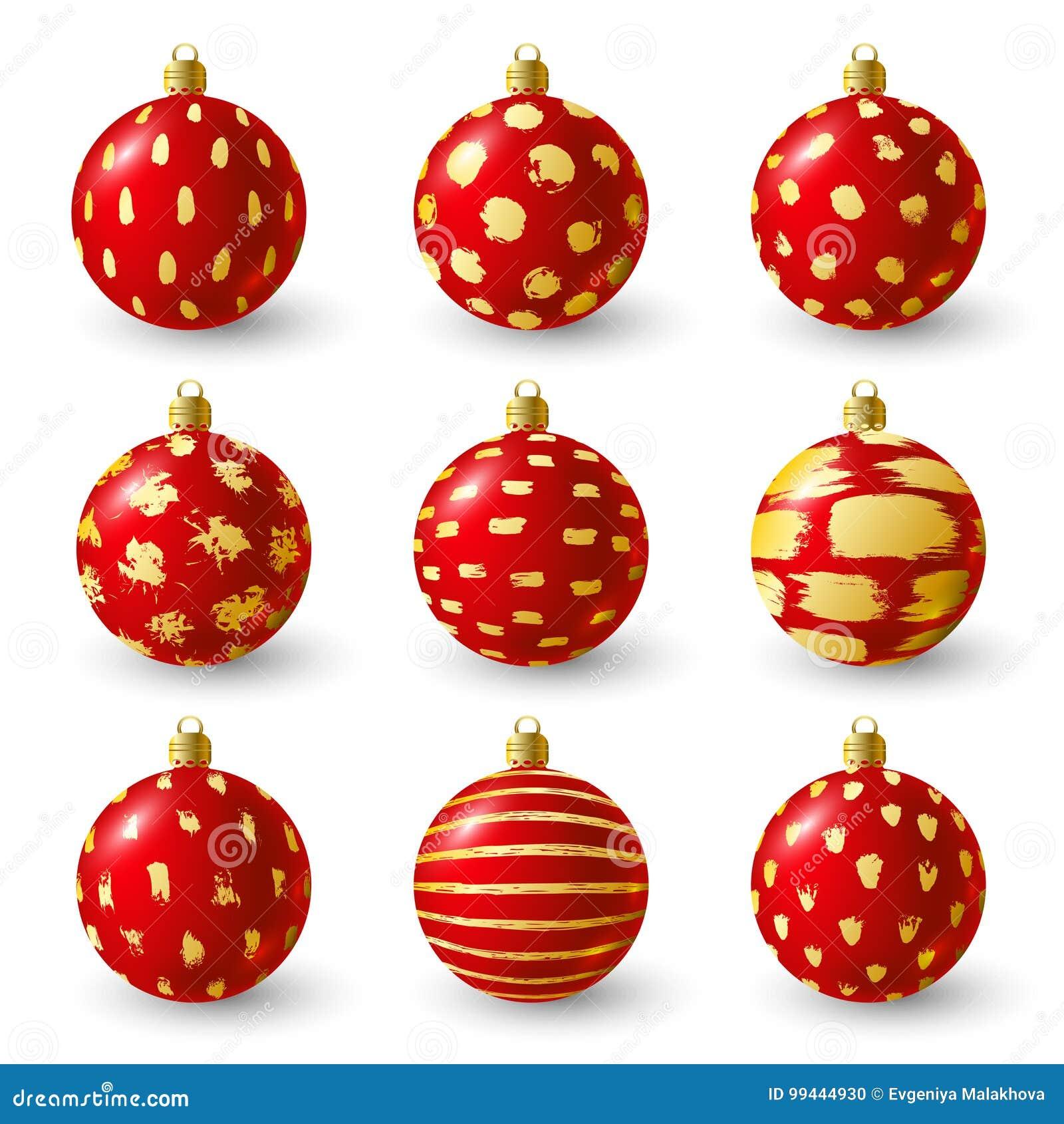 Ensemble De Boules De Noël Avec La Texture D'or De Peinture
