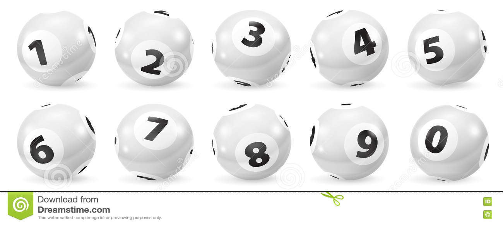 Ensemble de boules noires et blanches de nombre de loterie 0-9