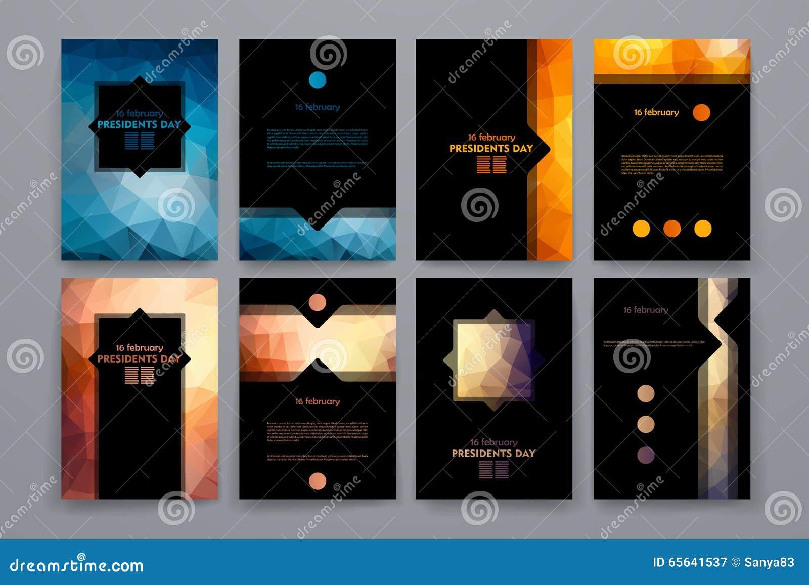 Ensemble de brochures dans le style de poligonal sur le thème des Présidents Day
