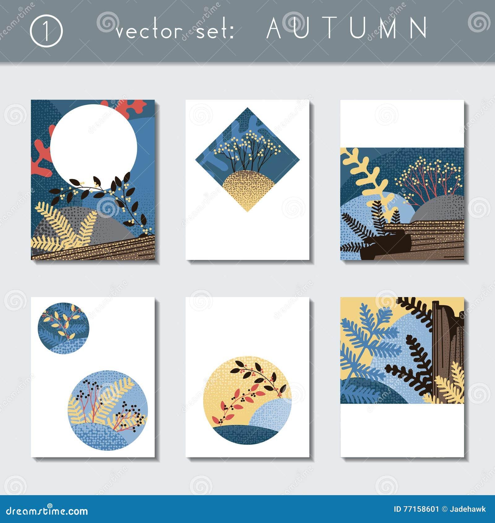 Ensemble de brochures stylisées d automne