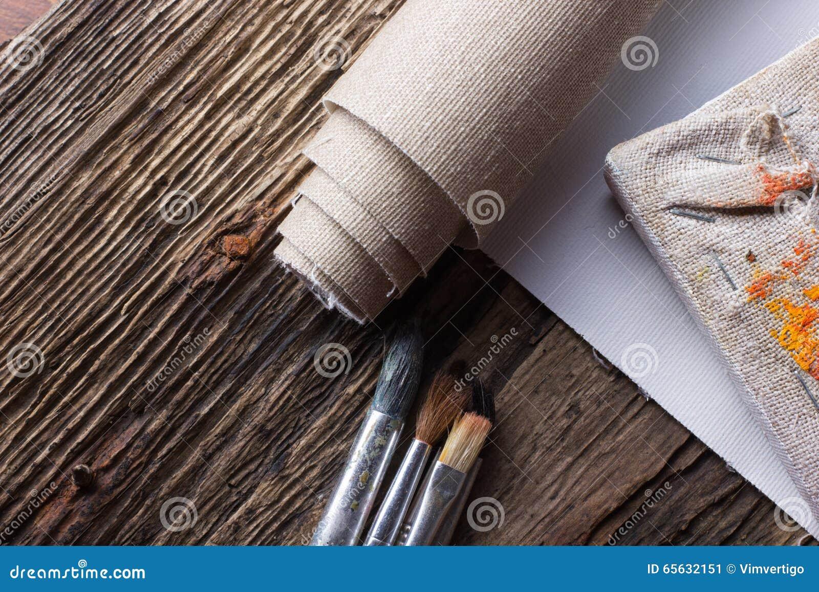 Ensemble de brosses pour peindre, toile, agrafeuse, agrafes, subframe