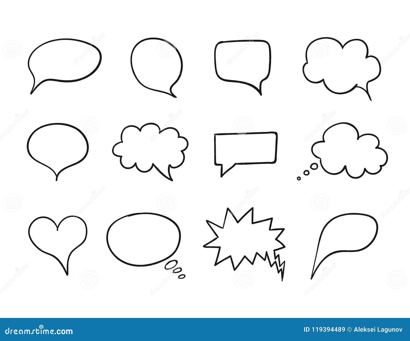 Ensemble de bulle d entretien de vecteur, collection de boîte de la parole, éléments tirés par la main de conception, dessins d e