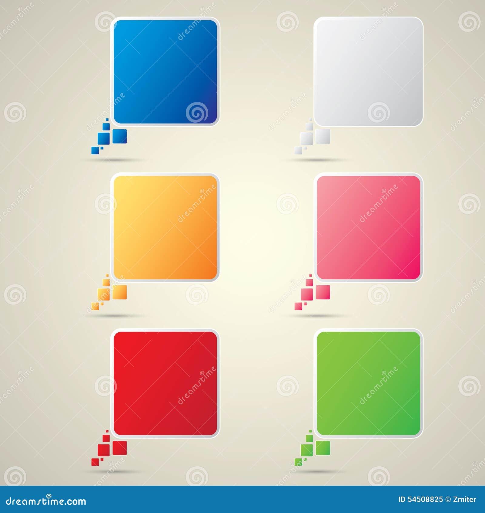 Ensemble de bulle de la parole de papier de vecteur de couleur
