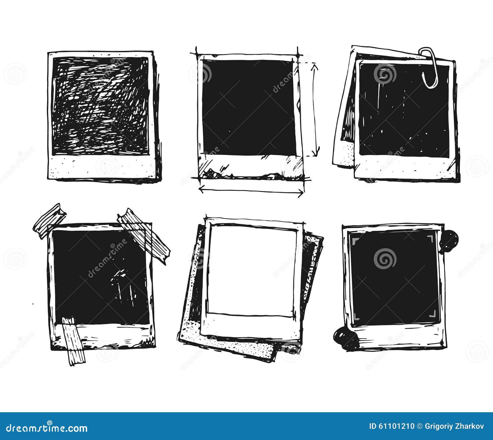 ensemble de cadre de photo de dessin de vintage illustration stock image 61101210. Black Bedroom Furniture Sets. Home Design Ideas