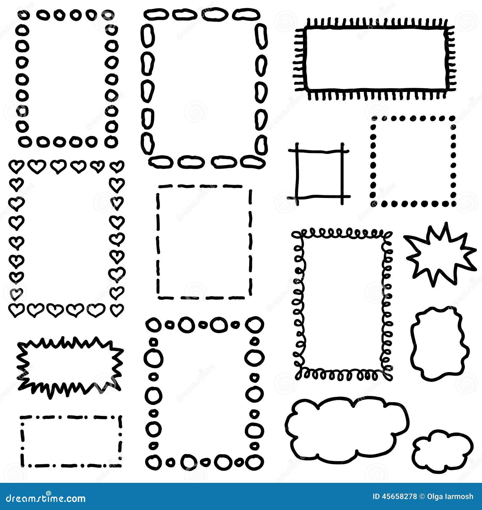 Ensemble de cadres de dessin de main illustration de vecteur image 45658278 - Cadre photo dessin ...