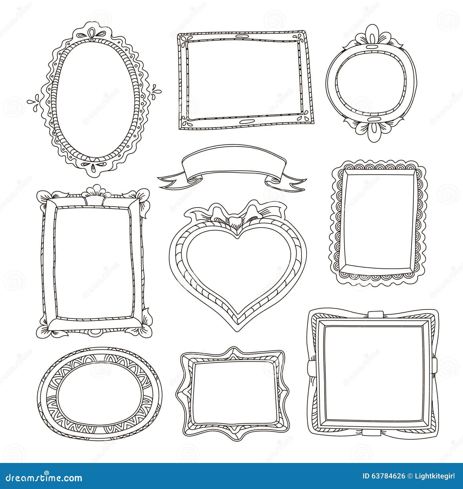 ensemble de cadres de griffonnage sur le fond blanc. Black Bedroom Furniture Sets. Home Design Ideas