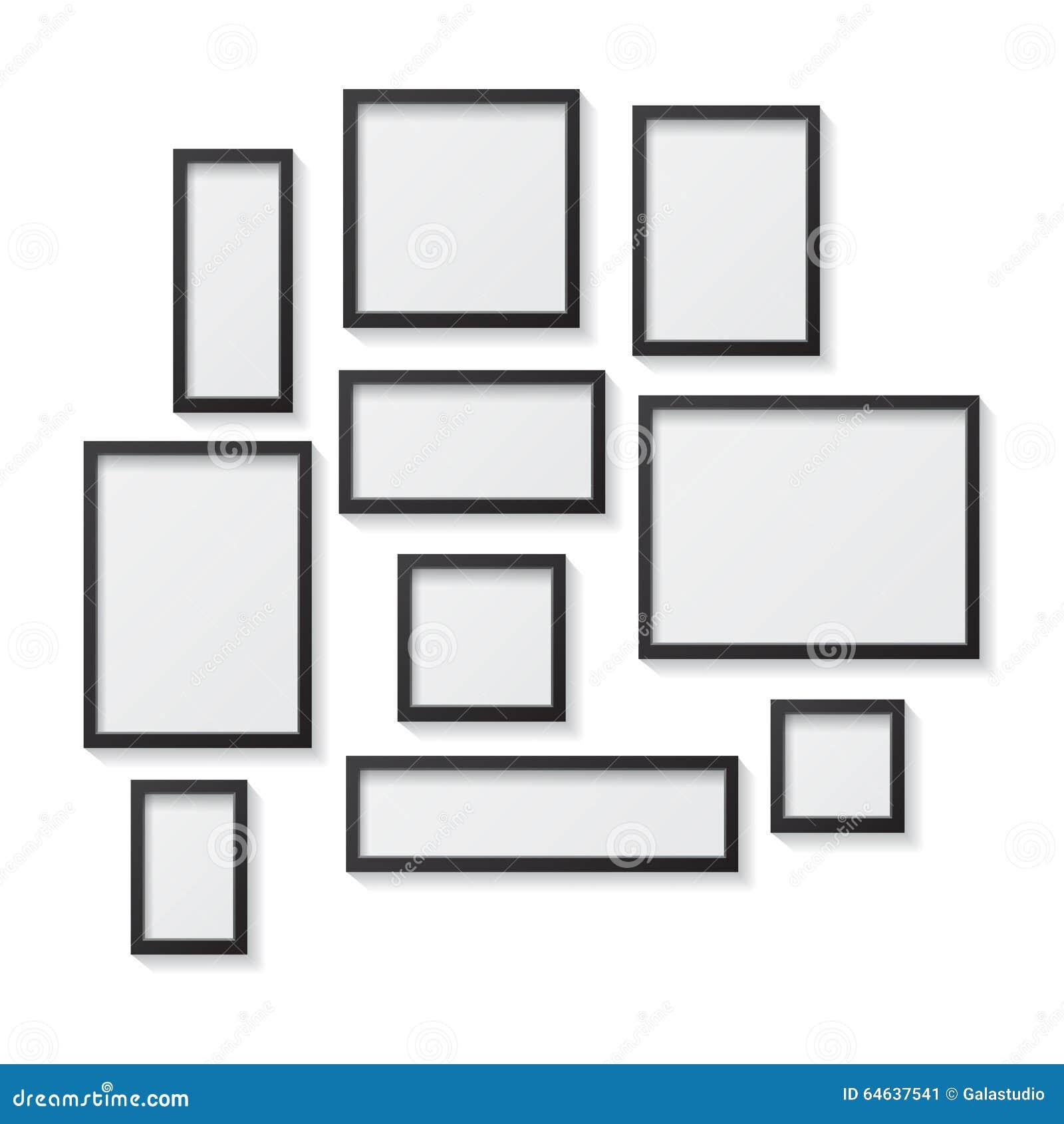Ensemble de cadres de tableau vides noirs accrochant sur - Tableau sur mur blanc ...