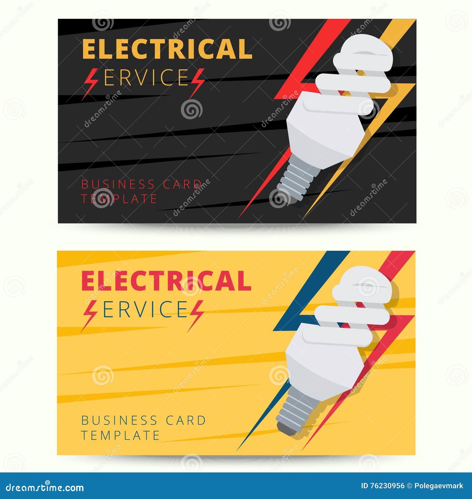 Ensemble De Calibre Professionnel Carte Visite Professionnelle D Electricien Vecteur E