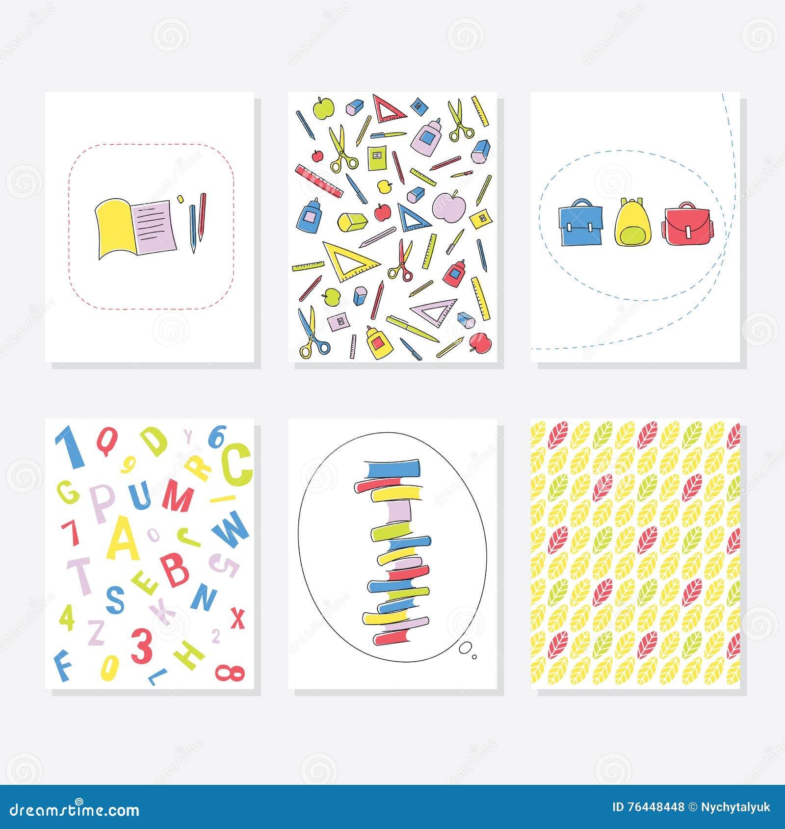 Ensemble de 6 calibres créatifs mignons de cartes avec l école et l Autumn Theme Design Carte tirée par la main pour l anniversai