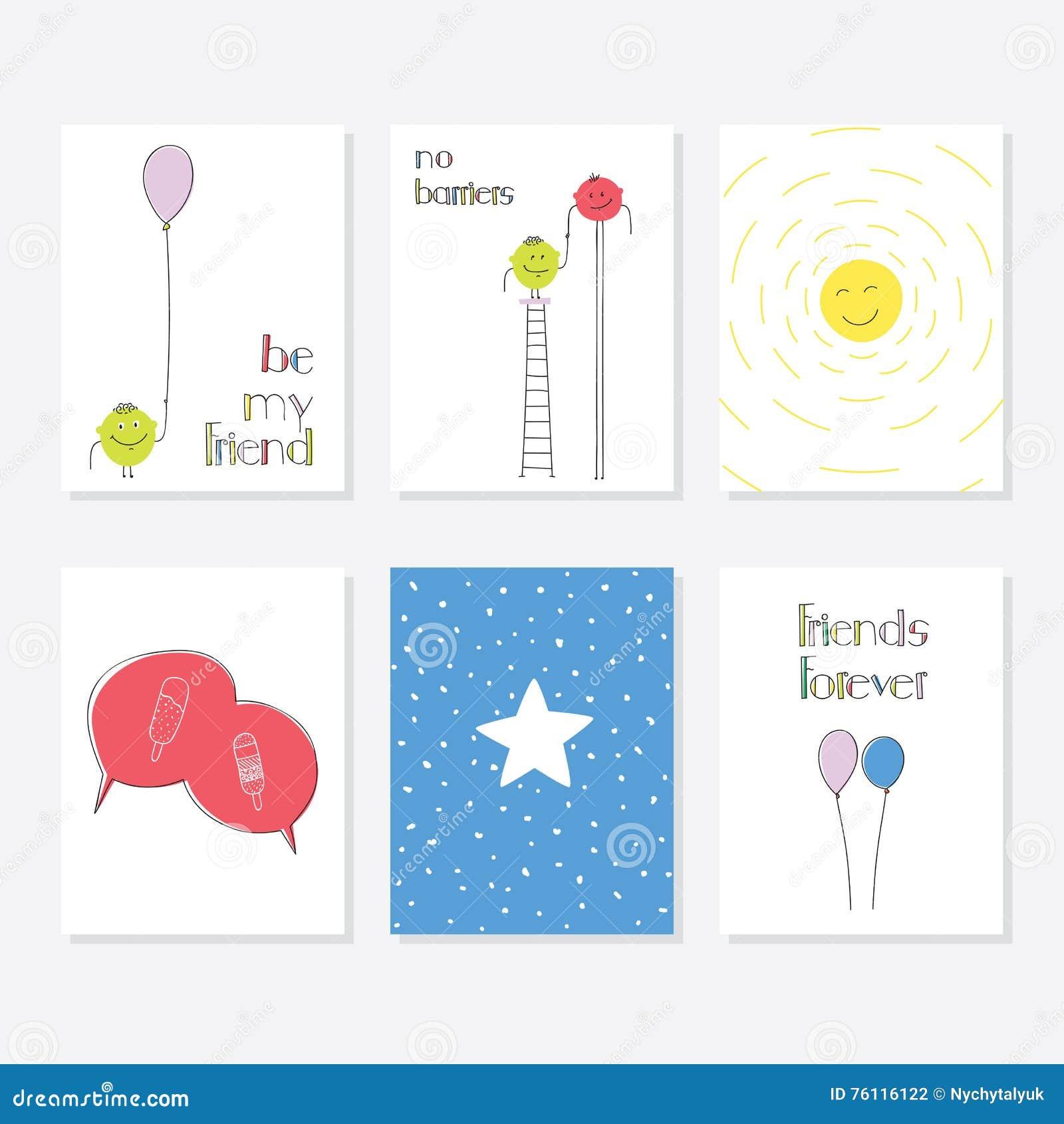 Ensemble de 6 calibres créatifs mignons de cartes avec la conception de thème d ami Carte tirée par la main