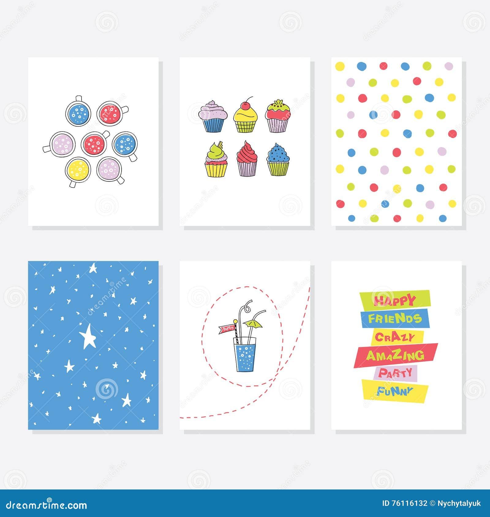 Ensemble de 6 calibres créatifs mignons de cartes avec la conception de thème de partie