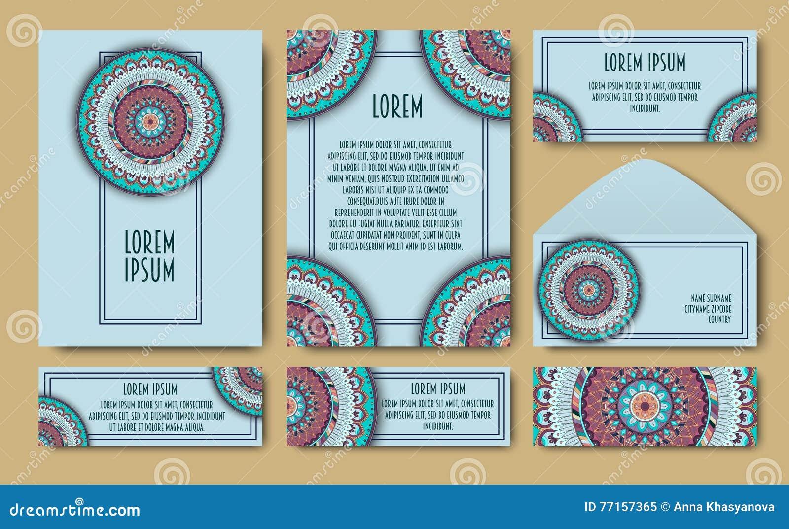Ensemble de calibres d invitation avec les mandalas tribals colorés Cartes ethniques de mariage et d invitation