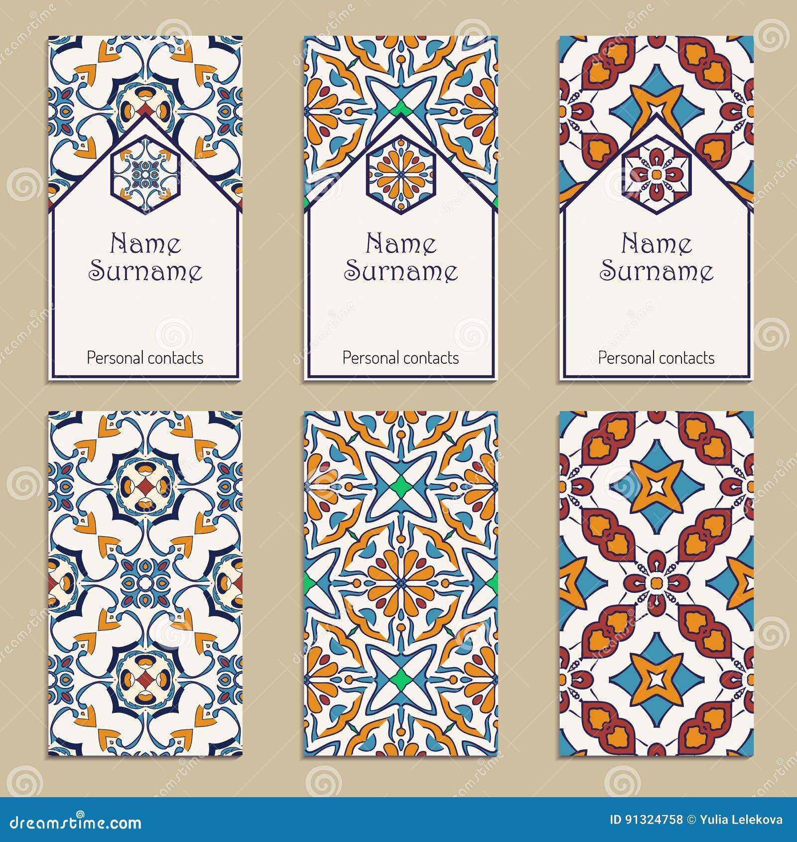 Ensemble De Calibres Carte Visite Professionnelle Vecteur Portugais Marocain Azulejo Larabe Ornements Asiatiques Motifs Geometriques
