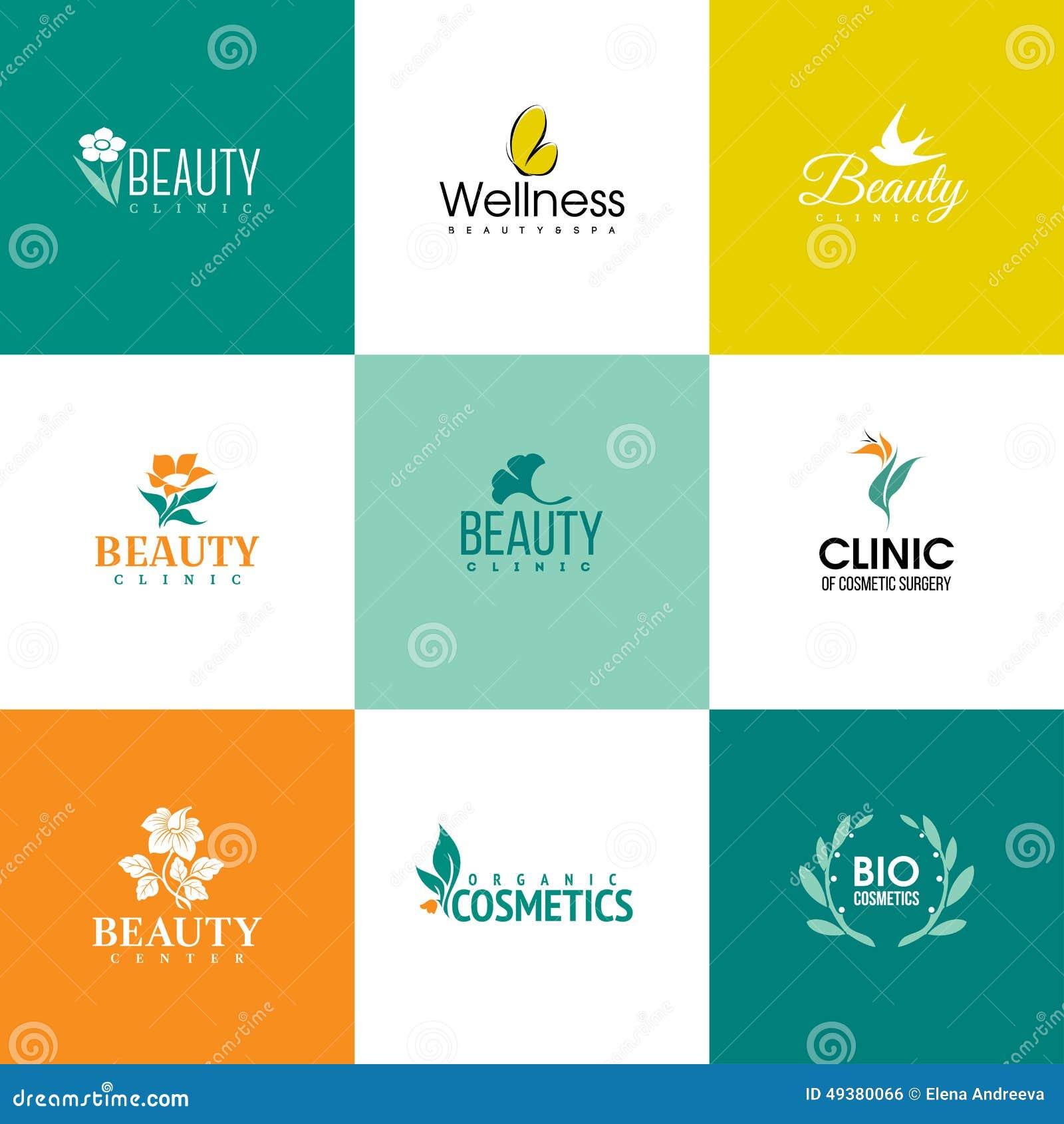 Ensemble de calibres de logo de beauté et de nature Fleurs et feuilles