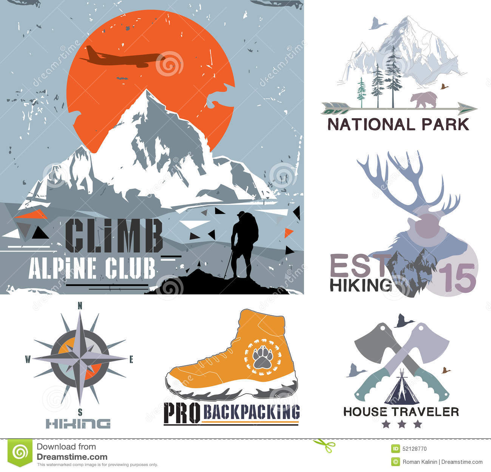 Ensemble de camp extérieur de vintage et les insignes de parc national, le logo et les éléments de conception Copie de vintage, s