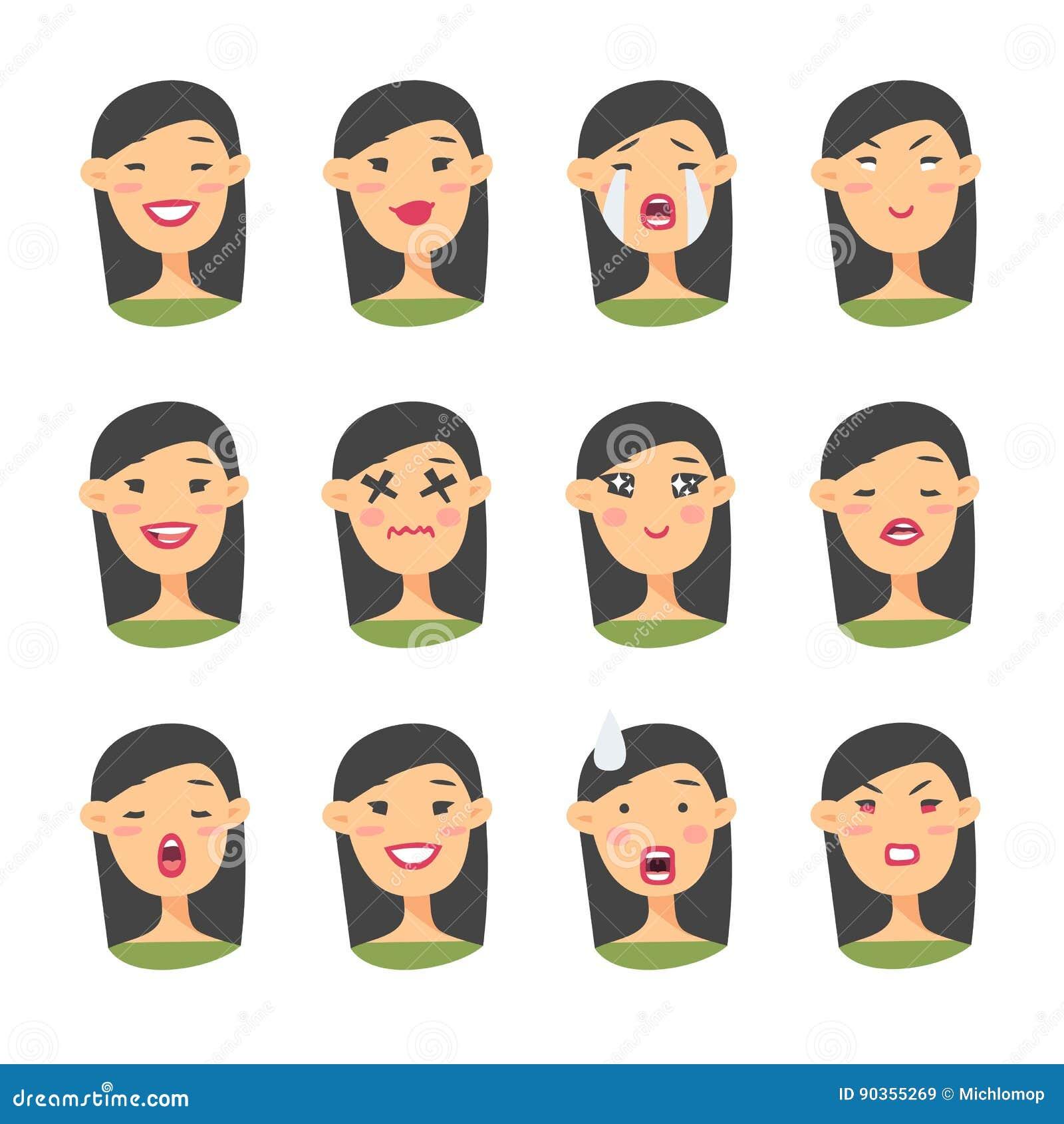 Ensemble de caractère asiatique d emoji Icônes d émotion de style de bande dessinée Avatars d isolement de fille avec différentes
