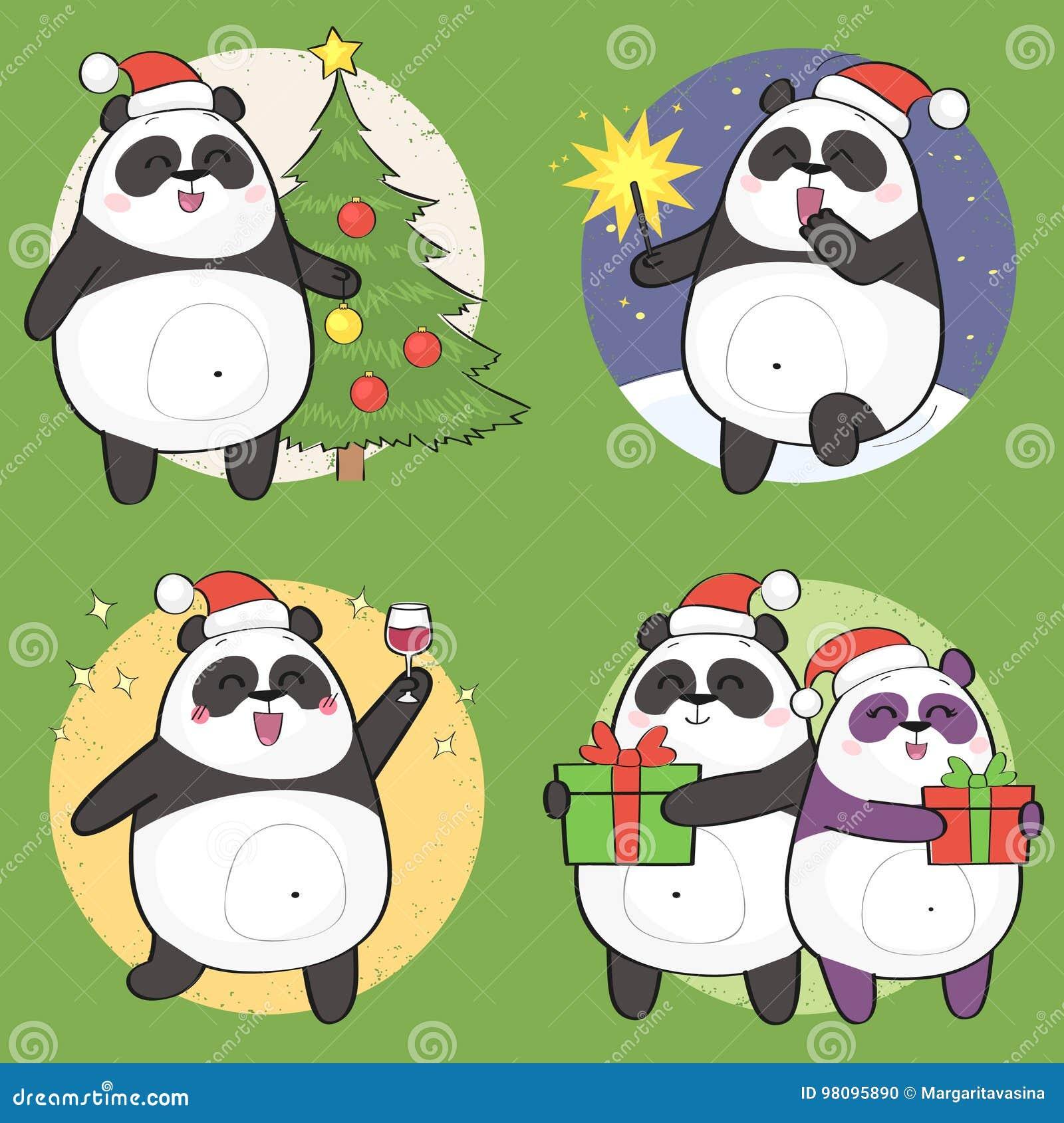 Ensemble de caractère mignon de panda de Noël