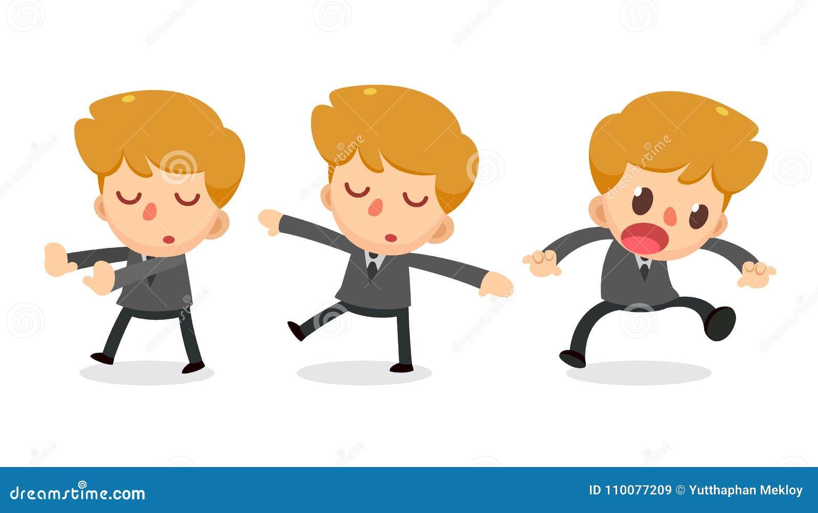 Ensemble de caractère minuscule d homme d affaires dans les actions