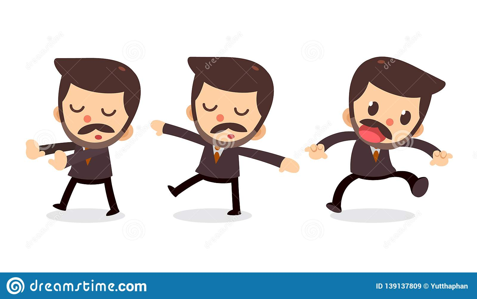 Ensemble de caractère minuscule d homme d affaires dans les actions rêvassez