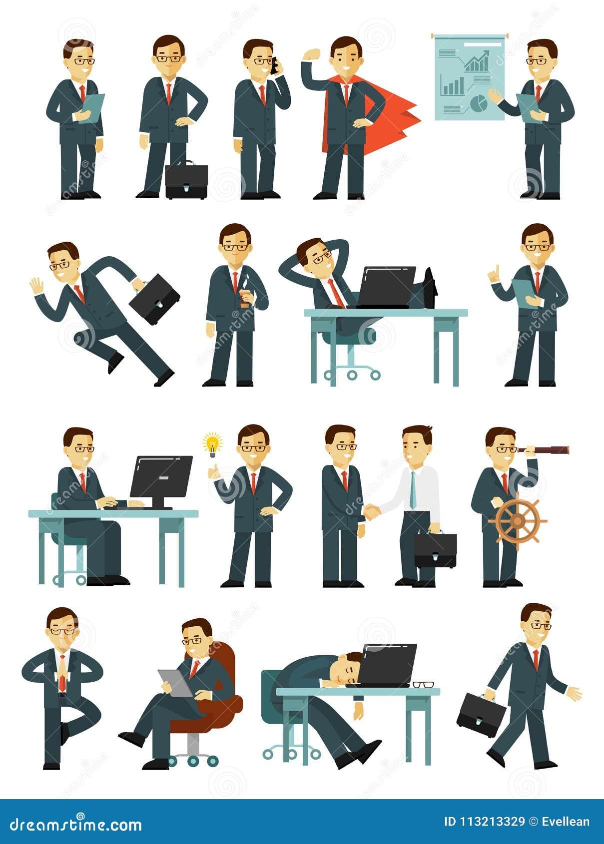 Ensemble de caractères d homme d affaires dans différentes poses dans le style plat d isolement sur le fond blanc