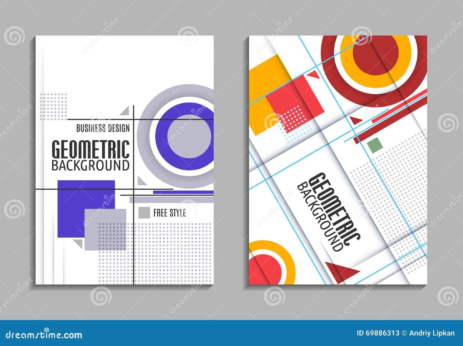 Ensemble De Carte Visite Professionnelle Dessin Geometrique Abstrait Feuille Titre