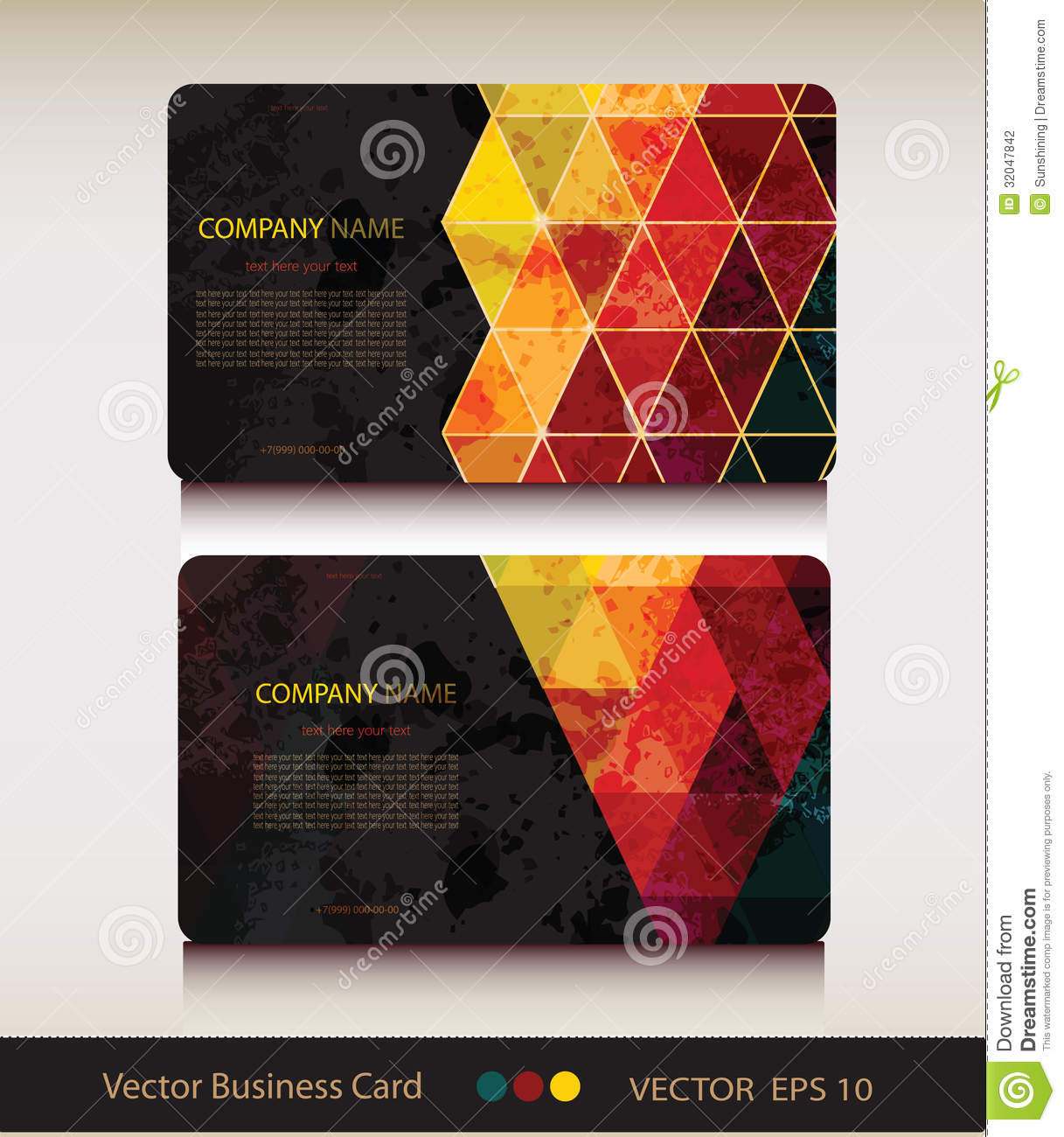 Ensemble De Carte Visite Professionnelle Geometrique Abstraite