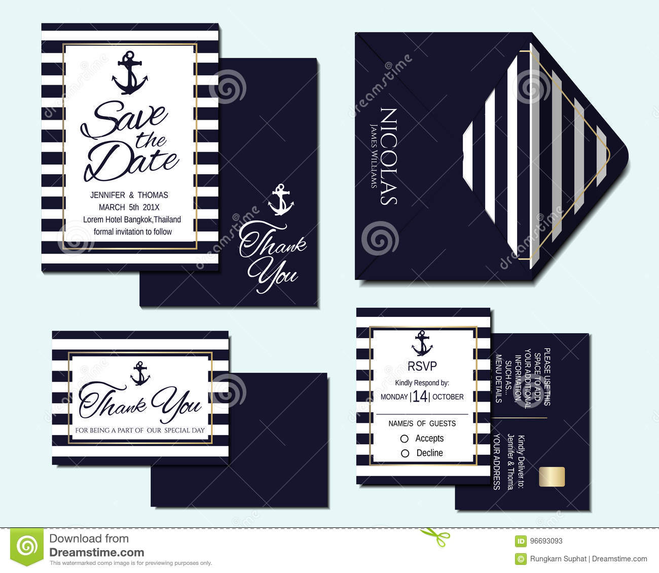 Carte Marine Thailande.Ensemble De Carte Nautique D Invitation De Mariage Illustration De
