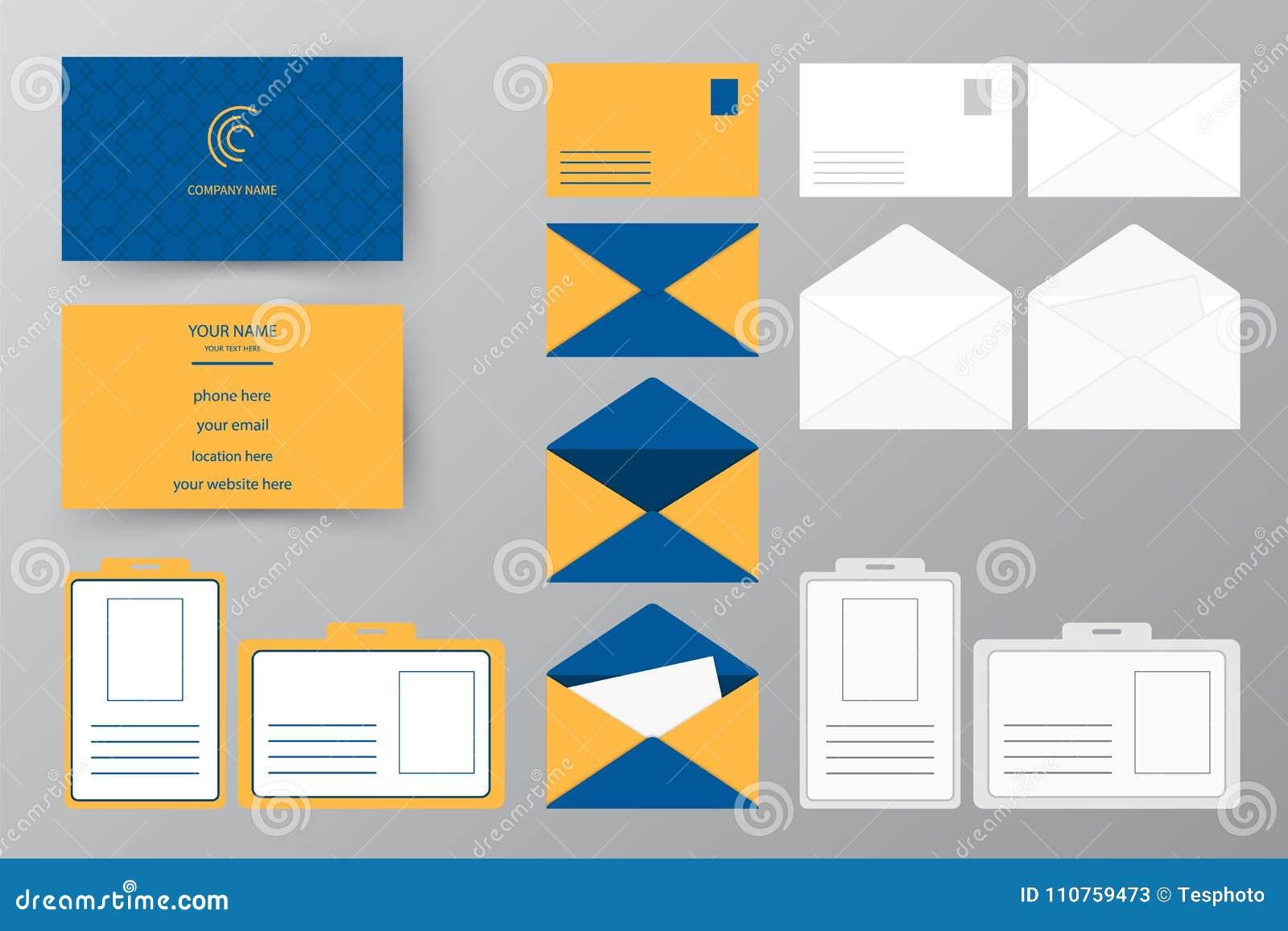 Style Conception Dillustration De Vecteur Pour Des Affaires Et Lusage Personnel Ensemble Carte Visite Professionnelle Avec L Enveloppe