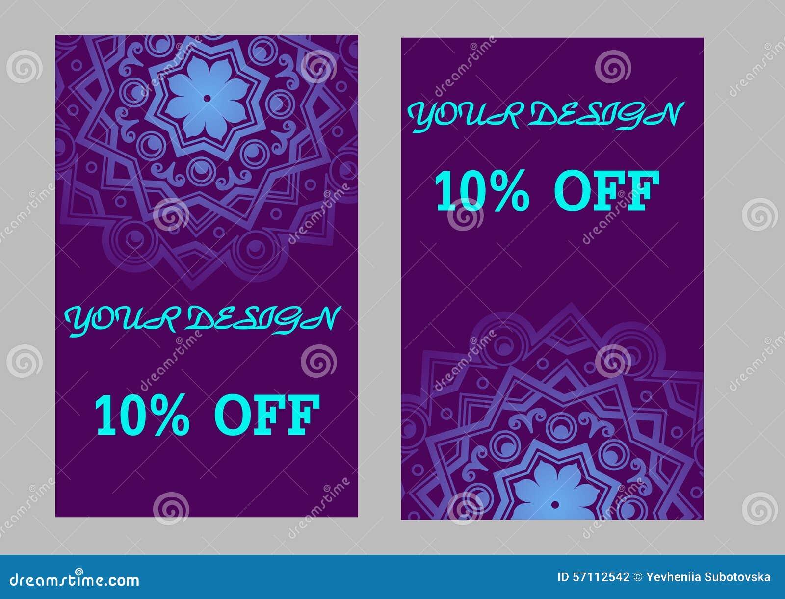 Ensemble De Cartes Visite Professionnelle Avec Le Fond Violet Mandala Arabe Illustration